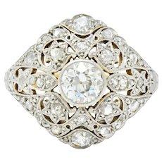 1910 Edwardian 1.35 CTW Diamond Platinum-Topped 18 Karat Gold Dinner Ring