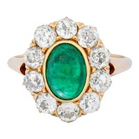 Victorian 3.80 CTW Colombian Emerald Diamond 14 Karat Gold Cluster Ring AGL