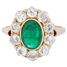 Victorian 3.80 CTW Colombian Emerald Diamond 14 Karat Gold Cluster Ring AGL