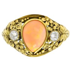 Arts & Crafts Opal Diamond 18 Karat Gold Floral Band Ring Circa 1900