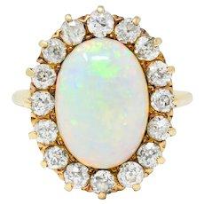Late Victorian 1.92 CTW Diamond Australian Opal 14 Karat Gold Cluster Ring