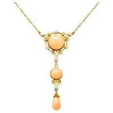 Retro Coral Pearl 14 Karat Yellow Gold Drop Dougherty Co. Inc. Necklace