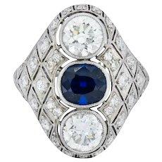 Art Deco 4.22 CTW Sapphire Diamond Platinum Three Stone Dinner Ring