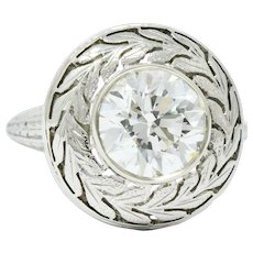 Detailed Art Deco 1.85 CTW Diamond 18 Karat White Gold Foliate Statement Ring Circa 1920