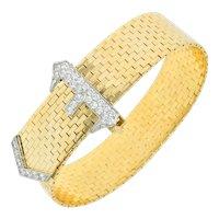 Cartier Retro 1.60 CTW Diamond 14 Karat Yellow Gold Belt Buckle Bracelet