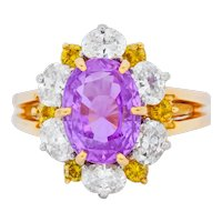 Oscar Heyman 5.36 CTW No Heat Pink Sapphire Fancy Colored Diamond Platinum 18 Karat Gold Ring AGL