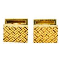 Van Cleef & Arpels Vintage 18 Karat Yellow Gold Woven Men's Cufflinks