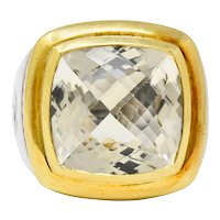 David Yurman Checkerboard Quartz 18 Karat Gold Sterling Silver Albion Cocktail Ring