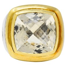 David Yurman Checkerboard Quartz 18 Karat Gold Sterling Silver Albion Cocktail Ring