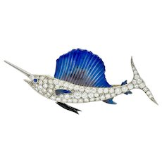 Art Deco 2.60 CTW Diamond Blue Enamel Platinum Swordfish Brooch