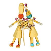 Yaeche Freres French Ruby Sapphire Diamond Coral Turquoise 18 Karat Gold Soldier Brooch