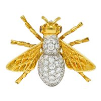 Vintage 1.75 CTW Diamond Ruby Platinum 18 Karat Gold Bee Brooch