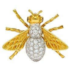 Vintage 1.75 CTW Diamond Ruby Platinum 18 Karat Gold Bee Brooch