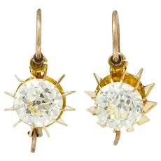 Victorian 2.04 CTW Old European Diamond Gold Articulated Drop Earrings