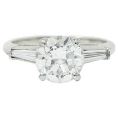 1950's Mid-Century 2.22 CTW Diamond Platinum Engagement Ring GIA