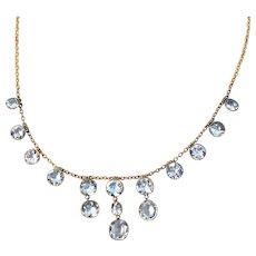 Festoon Victorian 14K Yellow Gold Aquamarine Necklace