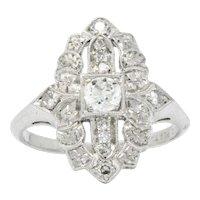 Delightful Art Deco 0.34 CTW Diamond Platinum Dinner Ring