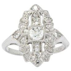Delightful Platinum Art Deco Diamond Cocktail Alternative Ring