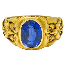 French Victorian 3.00 CTW No Heat Burma Sapphire 18 Karat Gold Anemoi God Of Wind Ring GIA