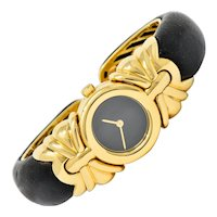 Bulgari Leather 18 Karat Gold Antalya Cuff Watch Contemporary