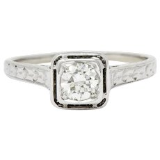 Art Deco 0.45 CTW Diamond 18 Karat White Gold Trellis Engagement Ring