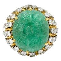 1960's Vintage Carved Emerald Diamond 18 Karat Gold Statement Ring