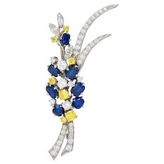 1950's McTeigue Sapphire Yellow & White Diamond Platinum Foliate Brooch