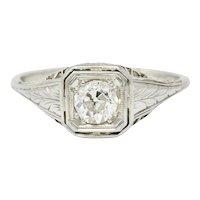 Art Deco 0.55 CTW Diamond 18 Karat White Gold Engagement Ring