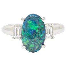 Black Opal Diamond Platinum Three Stone Ring