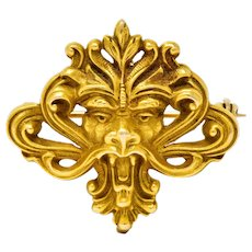 Art Nouveau 14 Karat Gold Whiplash Lion Brooch Circa 1905