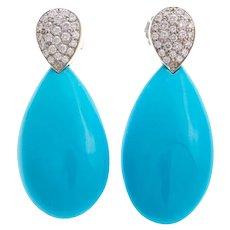 Lovely Vintage Gump's Turquoise & Diamond Drop Earrings