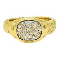 David Yurman Pave Diamond 18 Karat Gold Noblesse Ring