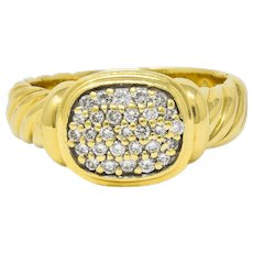 David Yurman Pave Diamond 18 Karat Gold Noblesse Ring