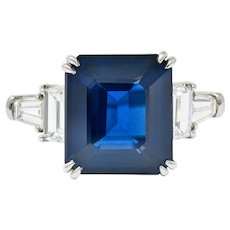 Modern 10.41 CTW Sapphire Diamond Platinum Statement Ring