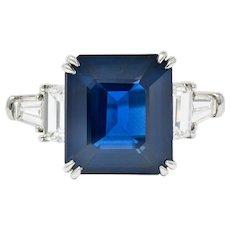 Modern 10.41 CTW Sapphire Diamond Platinum Statement Ring