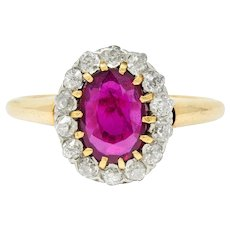 Edwardian 1.08 CTW Ruby Diamond Platinum 14 Karat Gold Cluster Ring
