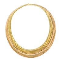 Bulgari Vintage Italian 18 Karat Two-Tone Gold Tubogas Collar