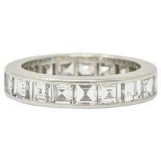 1950's Mid-Century 3.80 CTW Diamond Platinum Eternity Band Ring