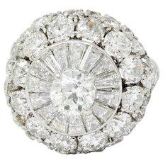 Retro 8.50 CTW Diamond Platinum Tiered Cluster Ring