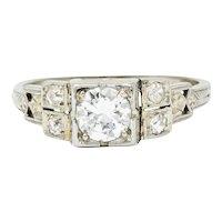 Early Retro 0.65 CTW Diamond 18 Karat White Gold Engagement Ring