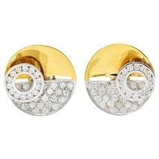 Vintage 2.46 CTW Pave Diamond Platinum 18 Karat Gold Circular Ear-Clip Earrings