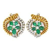 Vintage 3.50 CTW Diamond Emerald 18 Karat Gold Platinum Floral Ear-Clip Earrings