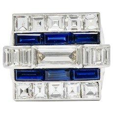 1950's Van Cleef & Arpels 6.59 CTW Diamond Sapphire Platinum Unisex Ring