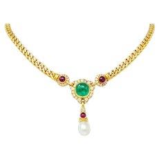 Bulgari Saltwater Natural Pearl Emerald Diamond Ruby 18 Karat Gold Drop Necklace GIA