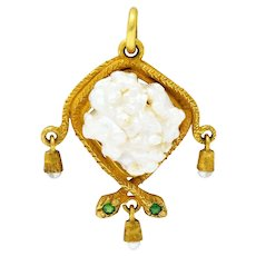 Victorian Baroque Pearl Demantoid Garnet 18 Karat Gold Snake Pendant Charm
