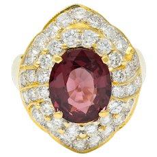 Vintage 4.88 CTW No Heat Spinel Diamond 18 Karat Gold Cluster Ring GIA