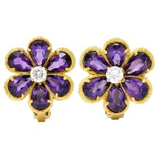Vintage Italian Diamond Amethyst 18 Karat Gold Flower Ear-Clip Earrings
