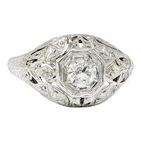 Early Art Deco 0.34 CTW Diamond Platinum-Topped 18 Karat White Gold Foliate Engagement Ring