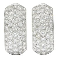 Vintage 9.00 CTW Pave Diamond 18 Karat White Gold Ear-Clip Earrings