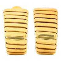 Bulgari Vintage Italian 18 Karat Gold Tubogas Ear-Clip Earrings